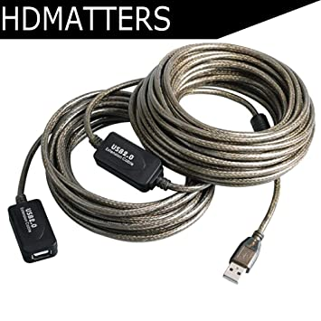 15m 50 Ft USB 2.0 Type A Male to Female Active Extension Cable Cord w// Booster