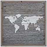 Global Map, Paper on Wood, Grey Wood Frame, 14'' x 14''