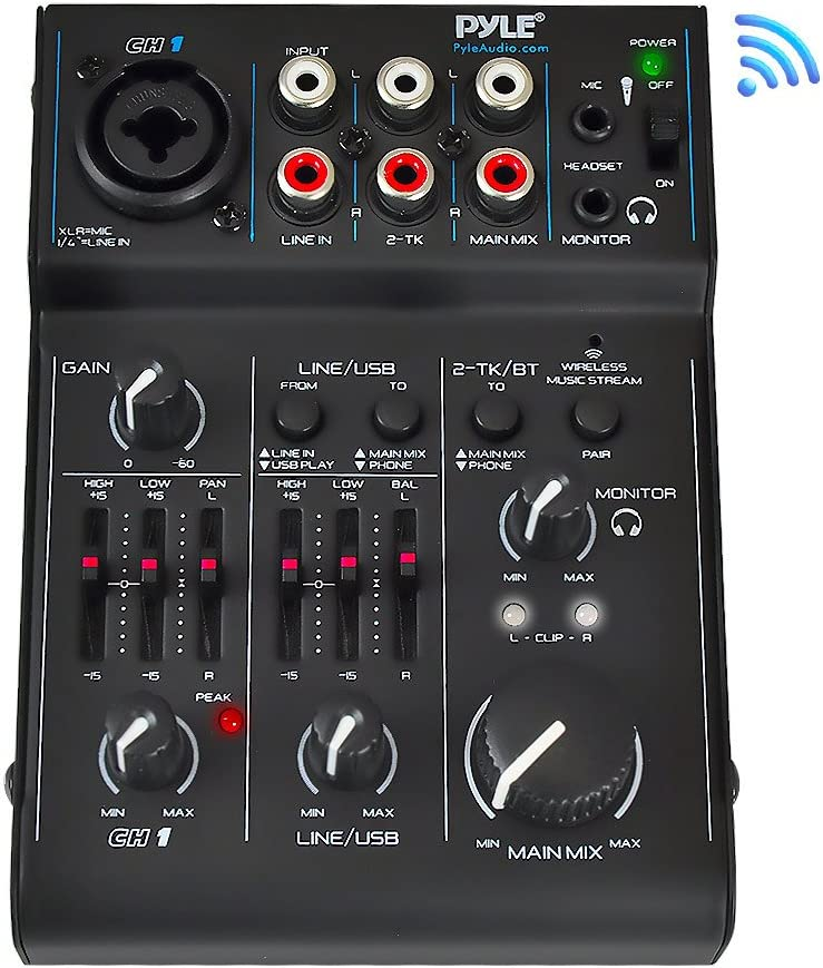 3 Channel Bluetooth Audio Mixer - DJ Sound Controller Interface with USB Soundcard for PC Recording, XLR, 3.5mm Microphone Jack, 18V Power, RCA Input/Output for Professional and Beginners - PAD30MXUBT 61GRD6xkqOL