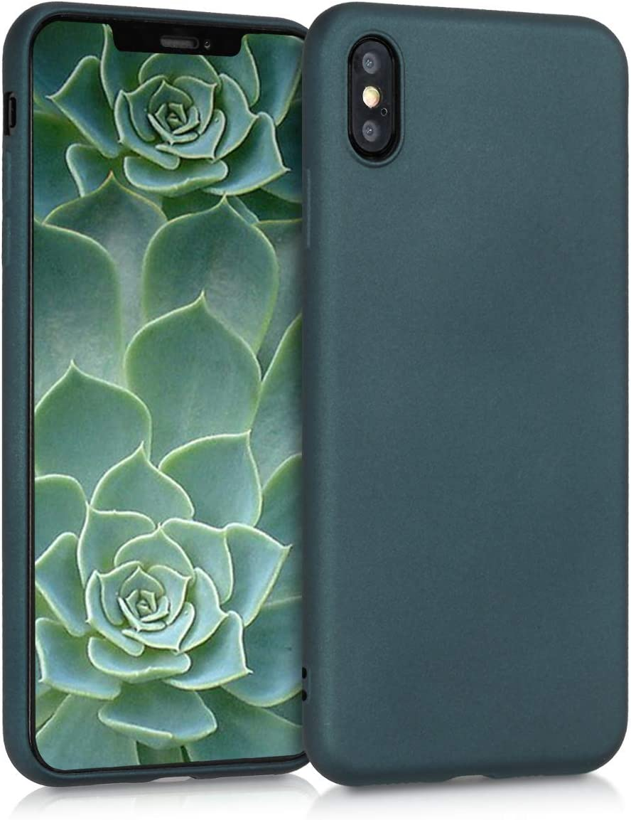 kwmobile TPU Silicone Case Compatible with Apple iPhone Xs Max - Soft Flexible Protective Phone Cover - Metallic Teal