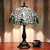 12-Inch Vintage Pastoral Flourishing Flowers Stained Glass Tiffany Table Lamp Bedroom Lamp Bedside Lamp