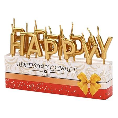 EFINNY Letras de feliz cumpleaños Vela Cake Topper Hogar ...
