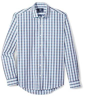"Buttoned Down Men's Slim Fit Supima Cotton Spread-Collar Pattern Dress Casual Shirt, Aqua/Blue/Brown Plaid, 14-14.5"" Neck 32-33"" Sleeve"