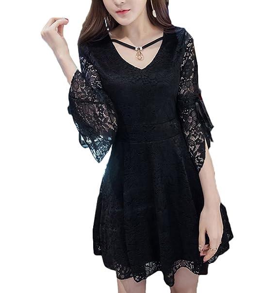 Scothen Vestido de noche vestido de las señoras de cóctel hasta la rodilla vendimia manga larga