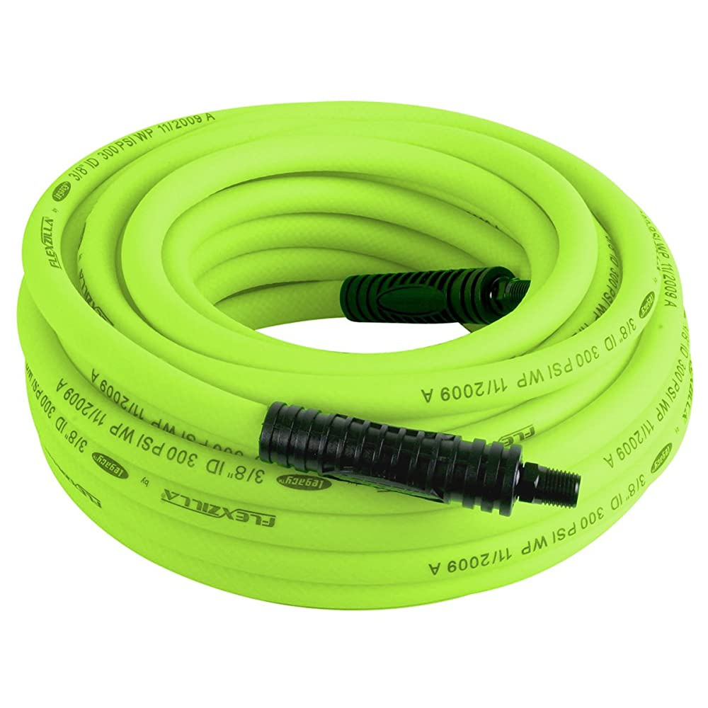 Flexzilla Air Hose, 3/8 in. x 50 ft., 1/4 in. MNPT Fittings, Heavy Duty, Lightweight, Hybrid, ZillaGreen - HFZ3850YW2 Review