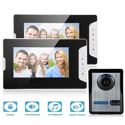 """FLOUREON Kit de Teléfono con Timbre Intercomunicador con 2 Monitores a Color LCD DE 7"""""""