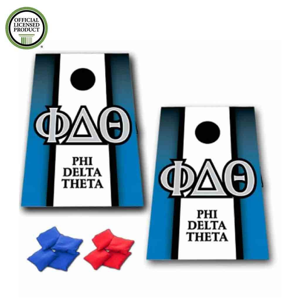 VictoryStore Cornhole Games - Phi Delta Theta Cornhole Bag Toss Game - Vertical Stripe - 8 Bags Included