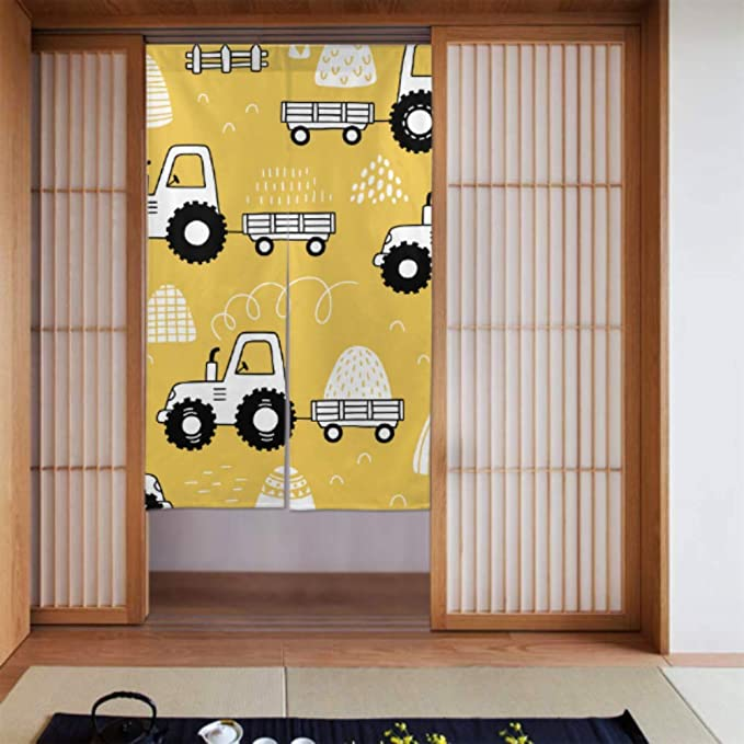 Cortinas de cocina para sala de estar Cortinas de dibujos animados para niños Tractor divertido Cortinas de puerta para niñas Cortina de puerta de cocina Tipo largo para decoración de puertas de