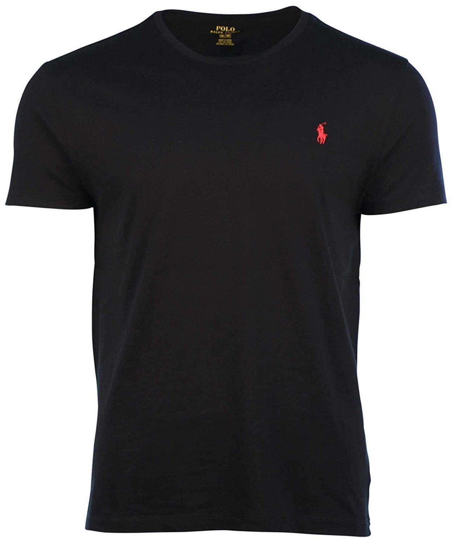 Polo Ralph Lauren Mens Crew-neck T-shirt (Medium, Black)