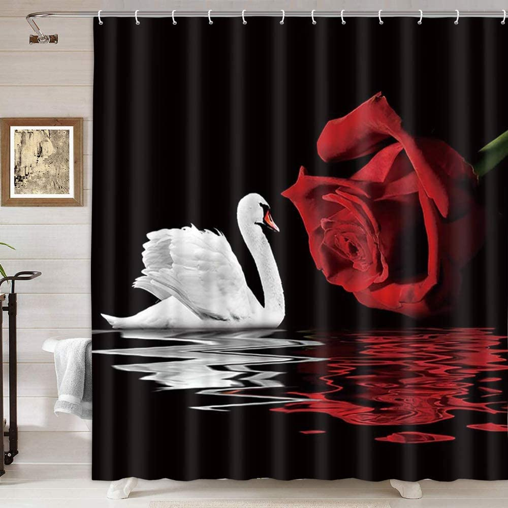 NYMB Rose Shower Curtain for Bathroom, White Swans and Romantic Love Red Roses Flowers in Water Reflections, Fabric Valentines Day Lover Bathroom Curtain with Shower Curtain 12PCS Hooks Lover Bird