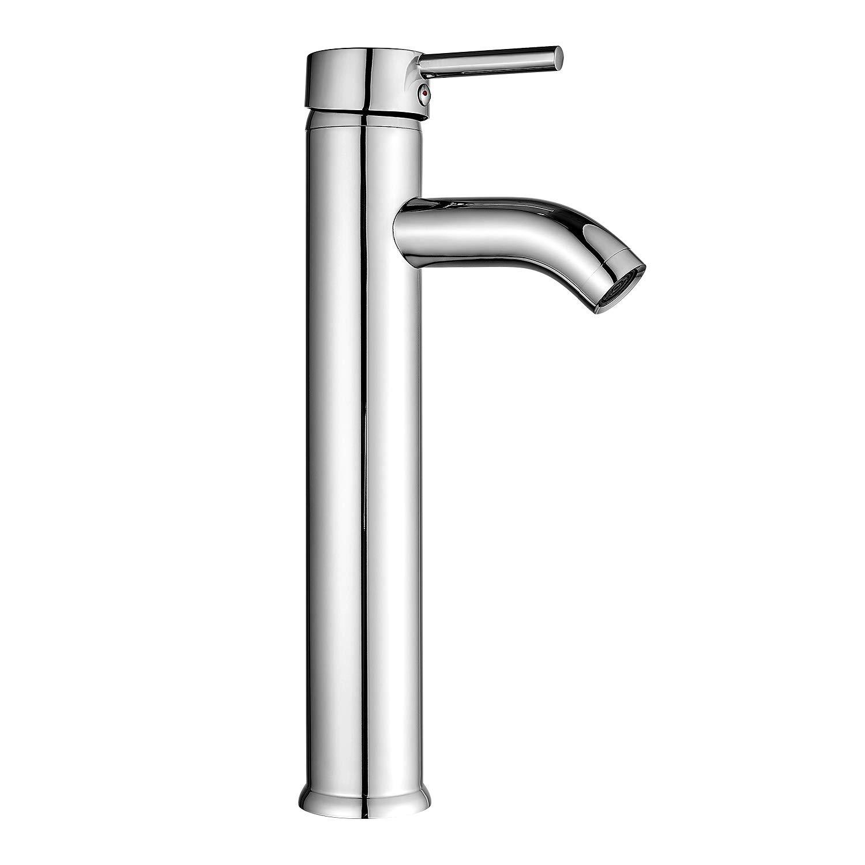 HOROW Bathroom Bowl Vessel Sink Lavatory Faucet Single Handle One Hole Deck Mount Tall Body Chrome