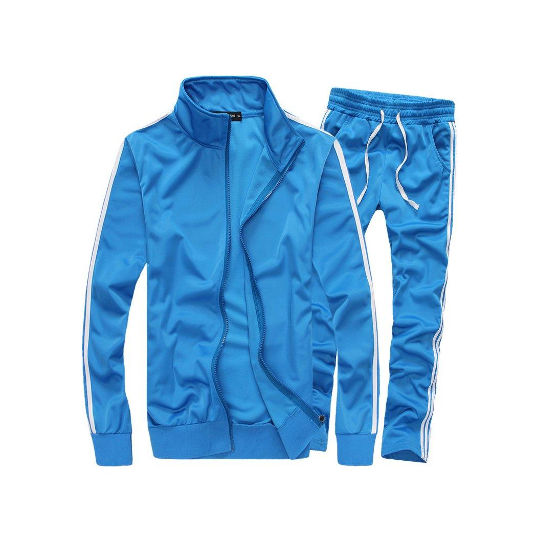 HANMAX Jogging Survêtement Homme Ensemble Deux Pièces Manches Longue Zipper Veste + Pantalon Gym Tenue de Sport SY18071107