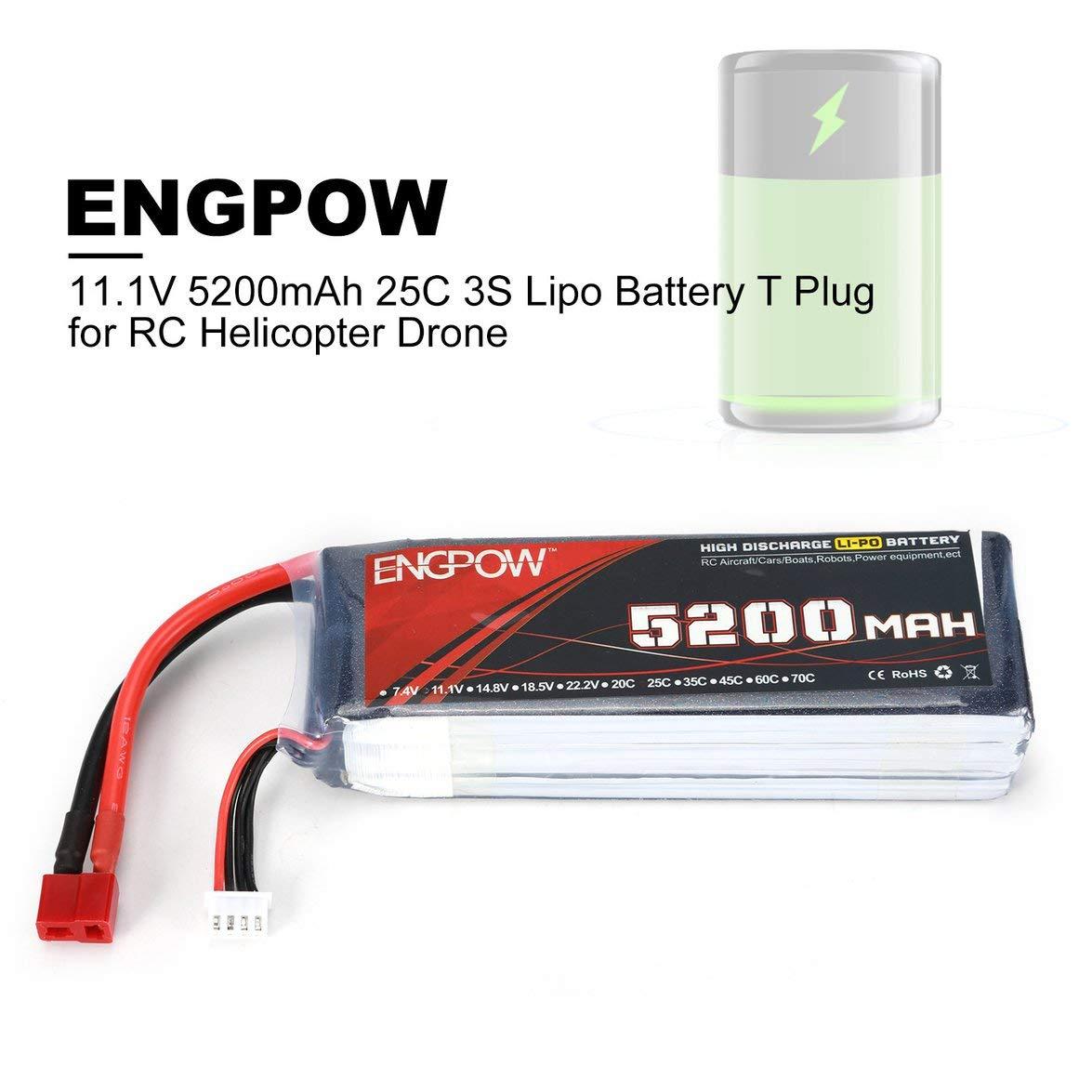 Banbie ENGPOW 11.1V 5200mAh 3Cells 25C 3S Power Lipo Batería T ...