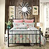 HOMERECOMMEND Metal Bed Platform Frame Box Spring Replacement Foundation with Headboards & Hevay Duty Steel Slats, Twin