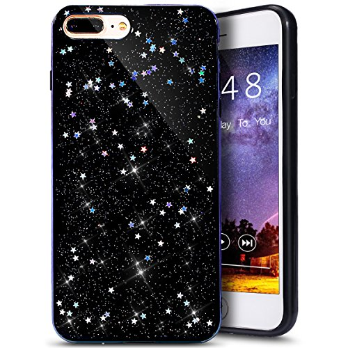 (PHEZEN iPhone 8 Plus Case,iPhone 7 Plus Case,iPhone 7 Plus Bling Glitter TPU Case, Shiny Sparkle Star Flexible Soft Rubber Gel Black TPU Cases Silicone Back Case for iPhone 8 Plus/iPhone 7 Plus 5.5