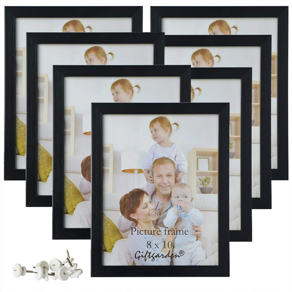 Giftgarden 8x10 Picture Frame Multi Photo Frames Set Wall Tabletop Display, Black, 7 Pack
