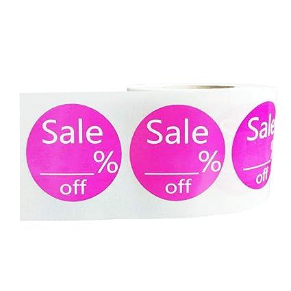 7643f903df46 Amazon.com : 1.5 Inch Pink Blank Sale% Off Round Price Paper Sticker ...