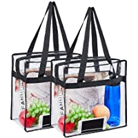 """Magicbags 12""""X12""""X6"""" Stadium Approved Clear Tote Bag, Sturdy PVC Construction Zippered Top, Stadium Security Travel & Gym Clear Bag, Perfect for Work, School, Sports Games and Concerts"""