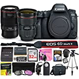 Canon EOS 6D Mark II 26.2 MP DSLR Camera (Wi-Fi) PROFESSIONAL PHOTOGRAPHER Multi-Lens Kit with EF 24-70mm f/2.8L II USM Lens, EF 100mm f/2.8L Macro IS USM Lens & Premium Camera Works Accessory Bundle