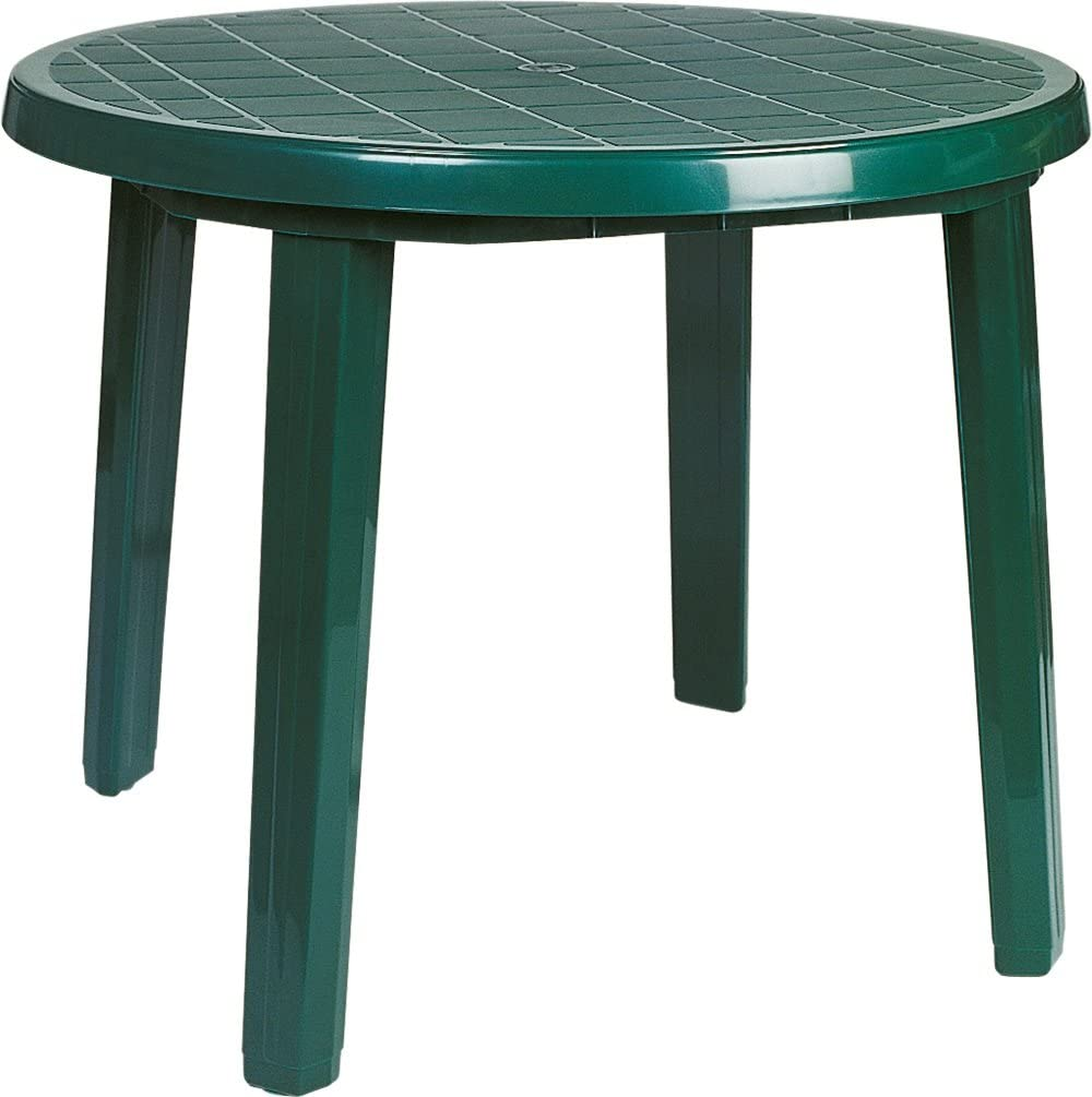 """Compamia Ronda 36"""" Round Resin Patio Dining Table in White, Commercial Grade: Kitchen & Dining"""