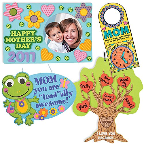Mothers Day Craft Kit | Mom Picture Photo Frame Magnet, Tree of Thanks, Totally Awesome Mum Sign & Doorknob Hangers | Kids DIY Classroom Daycare Homeschool Art Activity Decor | Gift Toys Boys Girls -