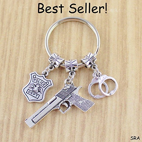 Unisex Police Academy Graduation Gift • Police Keychain • Gun Keychain • Gift For Police Officer • Hand Cuff Keychain • Bullet Keychain