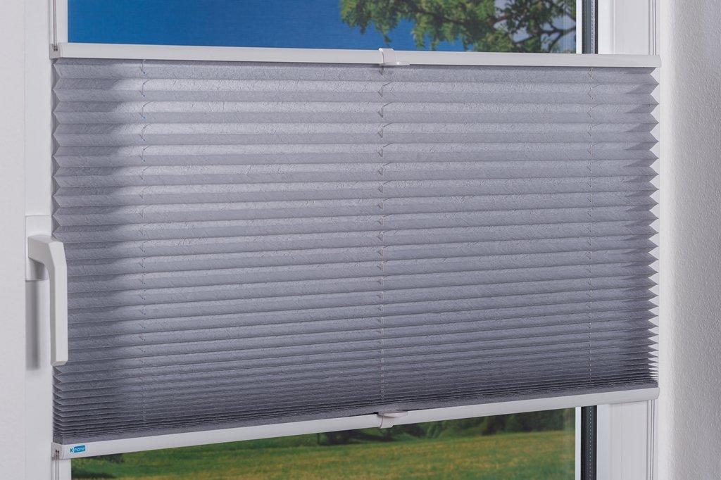 K-home Klemmfix-Plissee  80 80 80 x 210 cm (B x L) Grau Lichtschutz +++ Moderne Crushed Optik +++ B077G4355F Plissees c82bd6