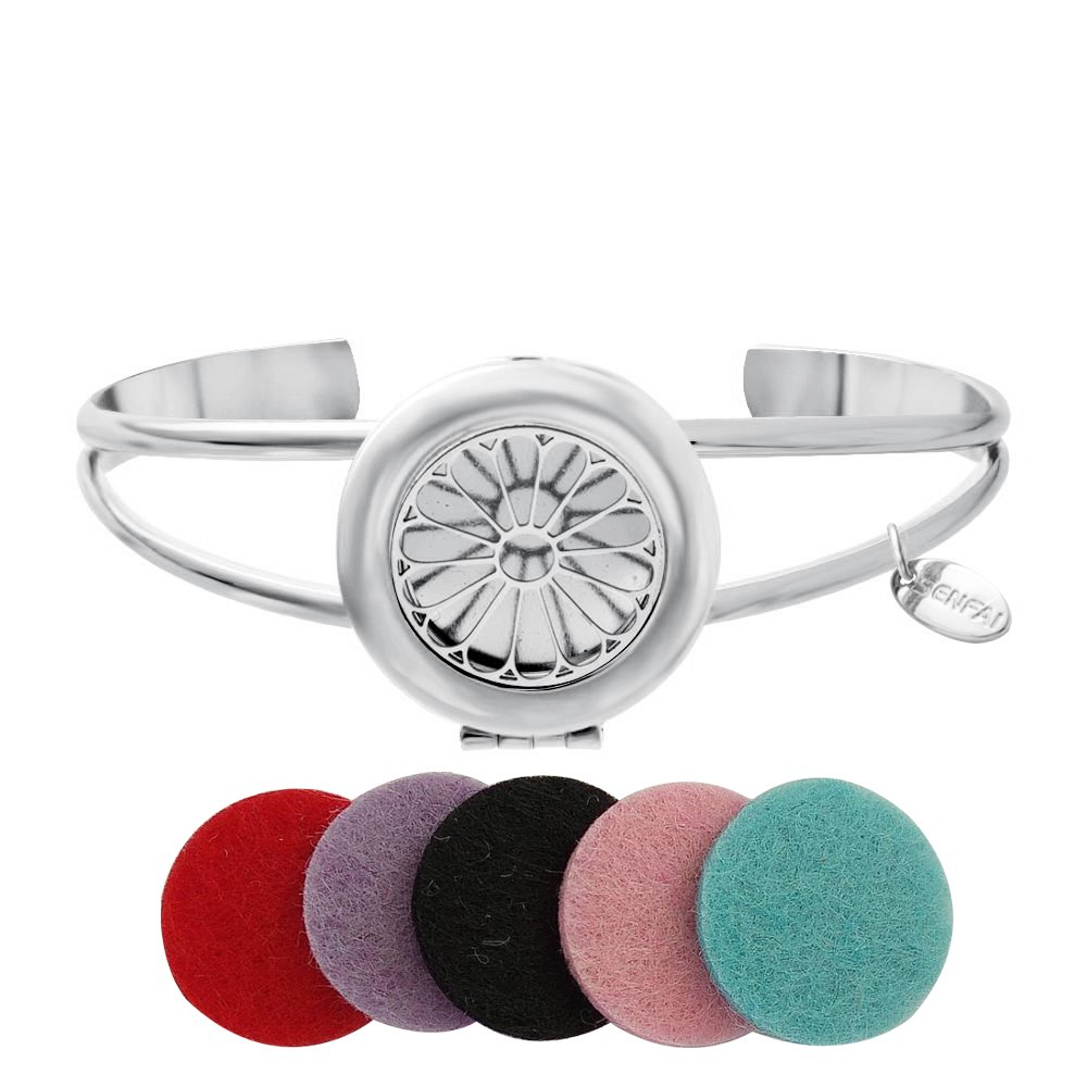SENFAI Fashion Bijoux Engrave Sunflower Tag Round Box Locket Bangles Essential Oil Aromatherapy Diffuser Cuff Bangle Bracelet