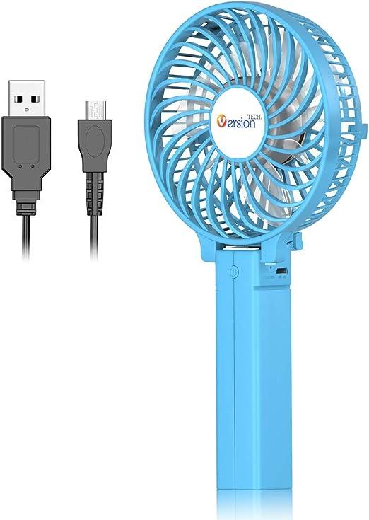 Air Cooling Fan USB Charging Fan Portable Desktop Detachable Base Fan Outdoor Handheld Mini Fan Color : Blue