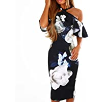 pengchengxinmiao Women Floral Off Shoulder Slim Elegant Evening Prom Party Cocktail