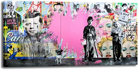 Amazon Com Banksy Canvas Wall Art Abstract Pink Graffiti Street Art Canvas Wall Art Pictures Prints For Living Room Office Home Decoration 24 X48 Posters Prints