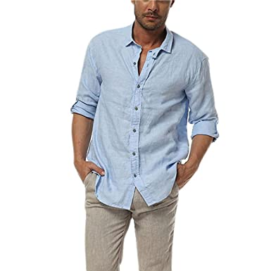 East Castle Mens Casual 100% Linen Comfort Long Sleeve Button Up ...