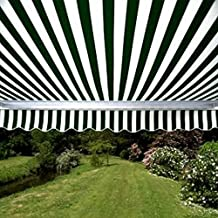 ALEKO Retractable Patio Awning 12ft x 10ft (3.65m x 3m) Green and White Stripes