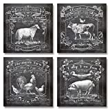 Chalkboard-Style Kitchen Art; Dairy Farm, Old Mill Farm, Mornighside Farm, Valley View Farm; Sheep, Cow, Rooster, Pig; Four 12x12in Paper Prints (Printed on paper to look like chalkboard)