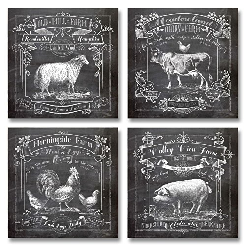 Chalkboard Style Kitchen Art; Dairy Farm, Old Mill Farm, Mornighside Farm,  Valley View Farm; Sheep, Cow, Rooster, Pig; Four 12x12in Paper Prints  (Printed On ...