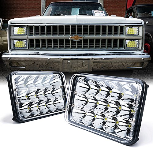 Xprite Dot approved 4x6 inch LED Headlights Rectangular Replacement H4651 H4652 H4656 H4666 H6545 for Peterbil Kenworth Freightinger Ford Probe Chevrolet Oldsmobile Cutlass