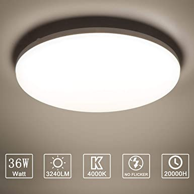 Yafido LED Lámpara de Techo Moderna 36W Plafón Led Redonda Ultra Delgado Downlight Blanco Natural 4000K 3240LM adecuada para Cocina Balcón Dormitorio Corredor Sala de Estar Ø23cm No-Regulable: Amazon.es: Iluminación