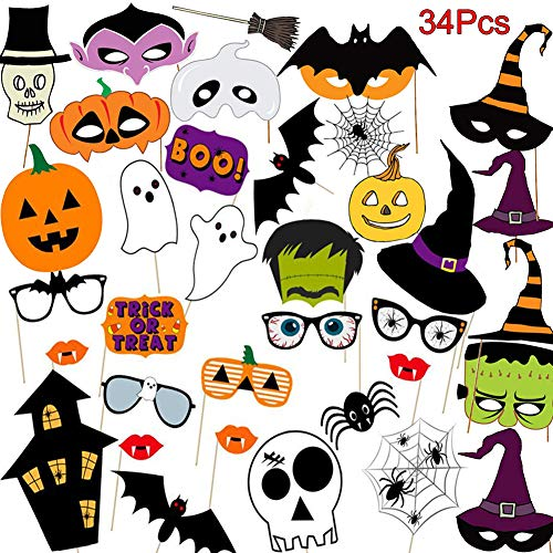 Easy Diy Halloween Props (Halloween Photo Booth Props Kit, 34 Pieces DIY Vintage Scary Party Supplies with Vampire Skull Witch Photography Decoration Kit for Kids Adults Dress Up Accessories Costumes)