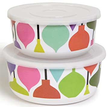 French Bull Ornaments Holiday Storage Container Melamine Set