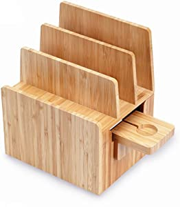 MobileVision Bamboo Charging Station & Compatible Apple Watch Adapter Combo Multi Device Organizer for Apple Watch, Smartphones, Tablets, Laptops, and More