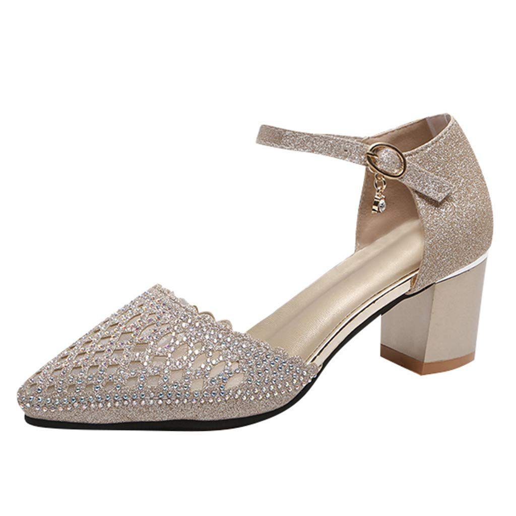 ZOMUSAR New! 2019 Women's Pointed Hollow Rhinestone Ankle Buckle Sandals Casual High Heel Sandals Gold