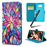 S8 Plus (2017) Case,Samsung Galaxy S8 Plus Wallet Case,Galaxy S8 Plus Kickstand Case,SKYMARS PU Leather Shock Absorbing Bumper Art Painting Kickstand Cards Slot Wallet Magnet Stand Flip Folio Cover Case for Samsung Galaxy S8 Plus (2017) Lotus flower