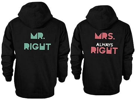 love Su y su a Juego con Capucha Sudaderas Mr Right y Mrs Always Right par Sudaderas: Amazon.es: Ropa y accesorios