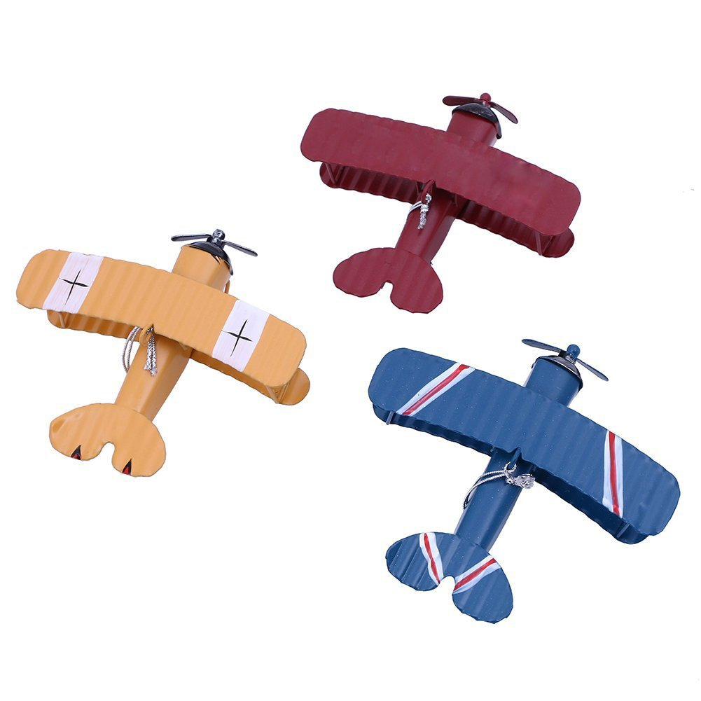 URAQT 3 Pcs Vintage Airplane Model Metal Handicraft, Wrought Iron Aircraft Biplane, for Photo Props/Christmas/Home Decor/Ornament JJD-PLANE-001