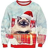 chicolife Noël Jumper, Hommes Unisexe Laid Sweat - Shirt drôle 3D imprimé Xmas Graphique Pull Père Noël Sweat S-XXL