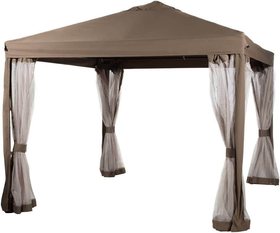 Abba Patio 10 x 10 Feet Gazebo Soft Top Fully Enclosed Garden Canopy with Mosquito Netting – Brown