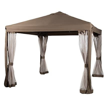 Abba Patio 10x10 Feet Gazebo Soft Top Fully Enclosed Garden Canopy With  Mosquito Netting  Brown