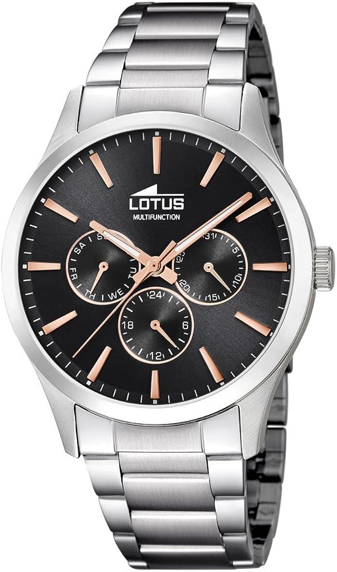 Lotus Watches Reloj Multiesfera para Hombre de Cuarzo con Correa en Acero Inoxidable 18575/7