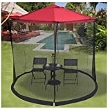 MD Group Outdoor Umbrella 9/10FT Lightweight with Table Screen Mosquito Bug Insect Net