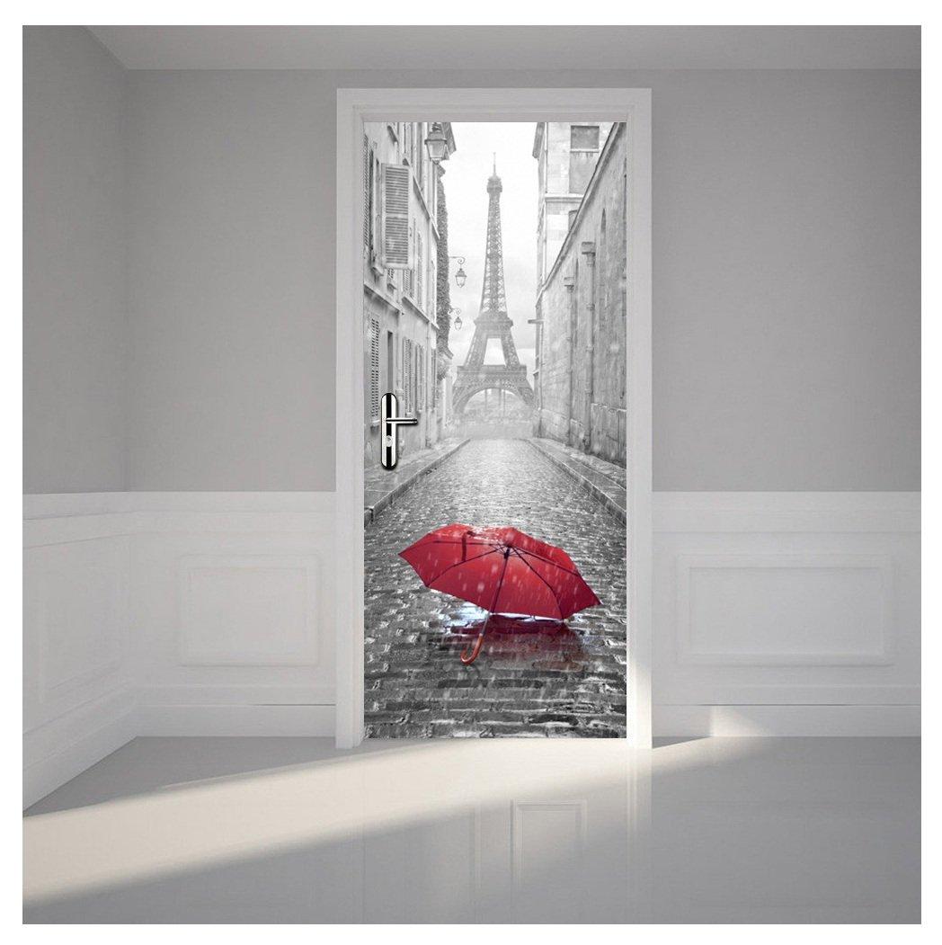 Kangrunmys 3D Autocollant De Porte, 1 Pc PVC Salle Bains Paris Tour Eiffel ImperméAble DéCalque Mur Maison DéCor Peint Stickers Muraux (Gris, 38.5 X200cm)